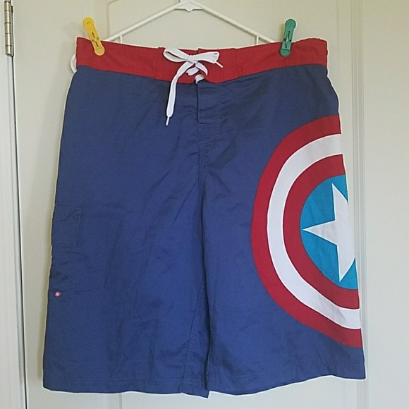 820175bccc Marvel Captain America Men's Swim Shorts - Size XL.  M_5ad799a8c9fcdf3fdfff7eff
